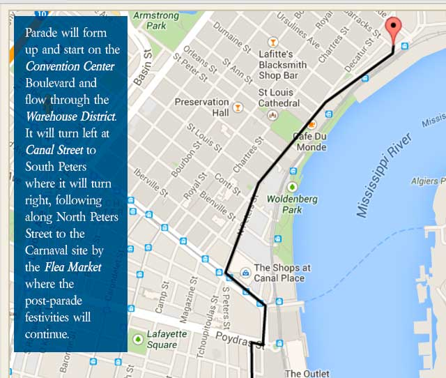 Parade Of The Americas Route Map - Carnaval Latino New Orleans 2014