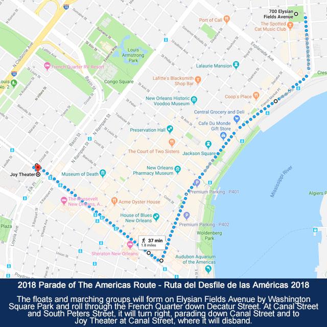 Parade Of The Americas Route Map – Carnaval Latino New Orleans 2018