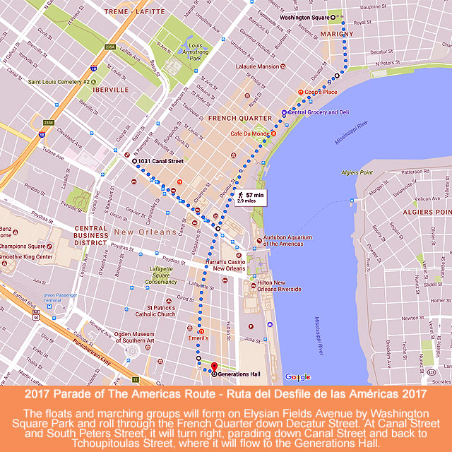 Parade Of The Americas Route Map – Carnaval Latino New Orleans 2017